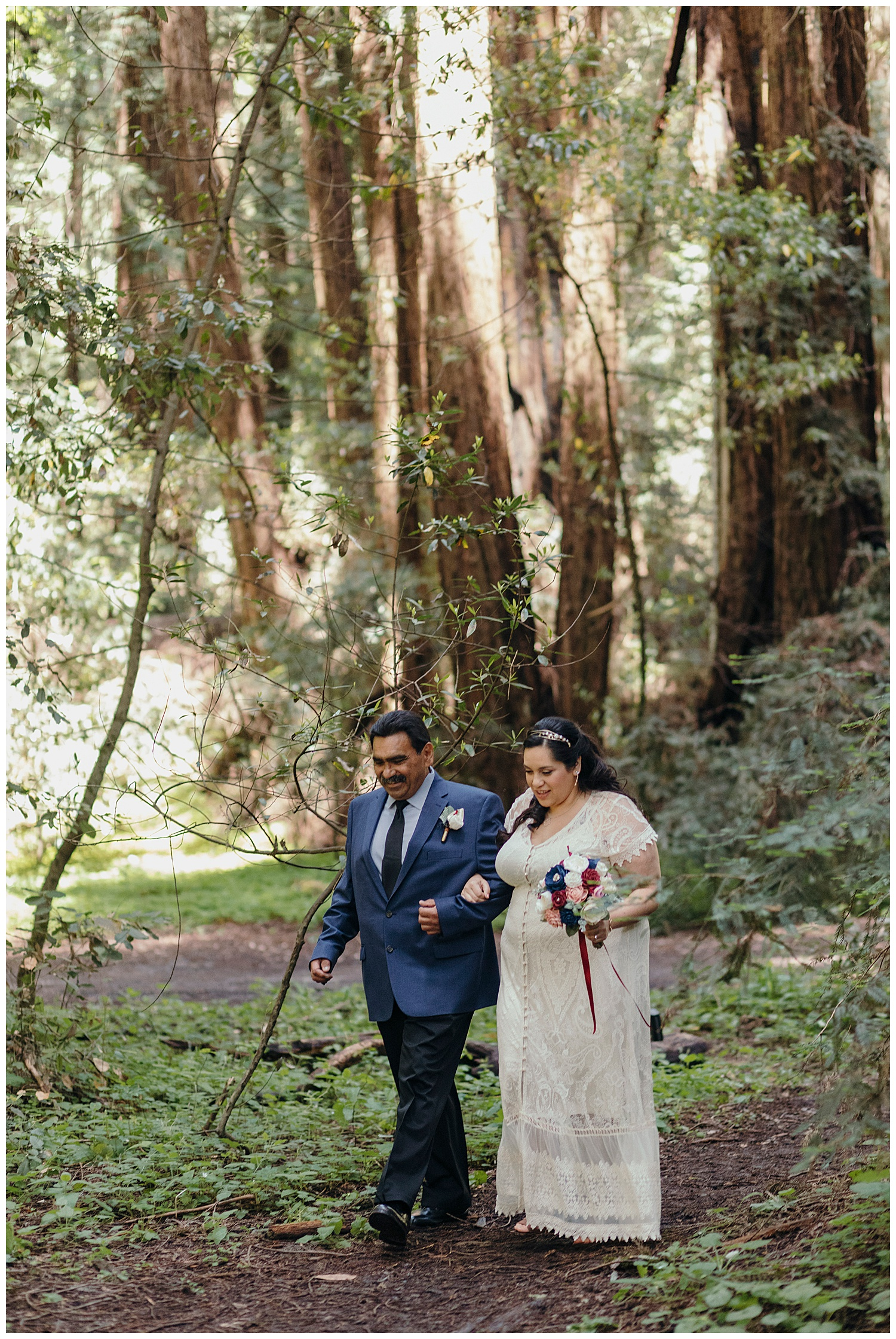 Bride walks with dad in Henry Cowell redwoods wedding photography