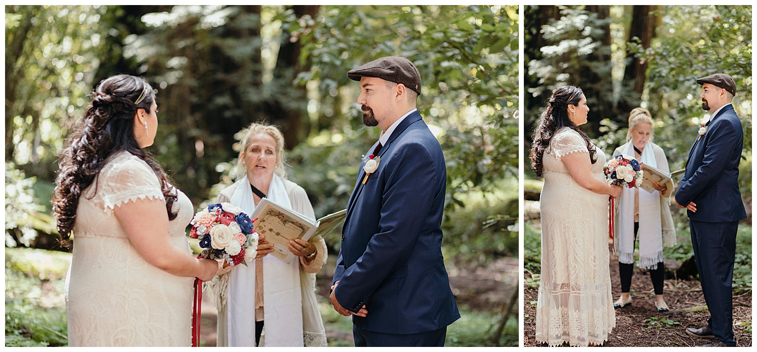 Officiant reads in Henry Cowell redwoods wedding