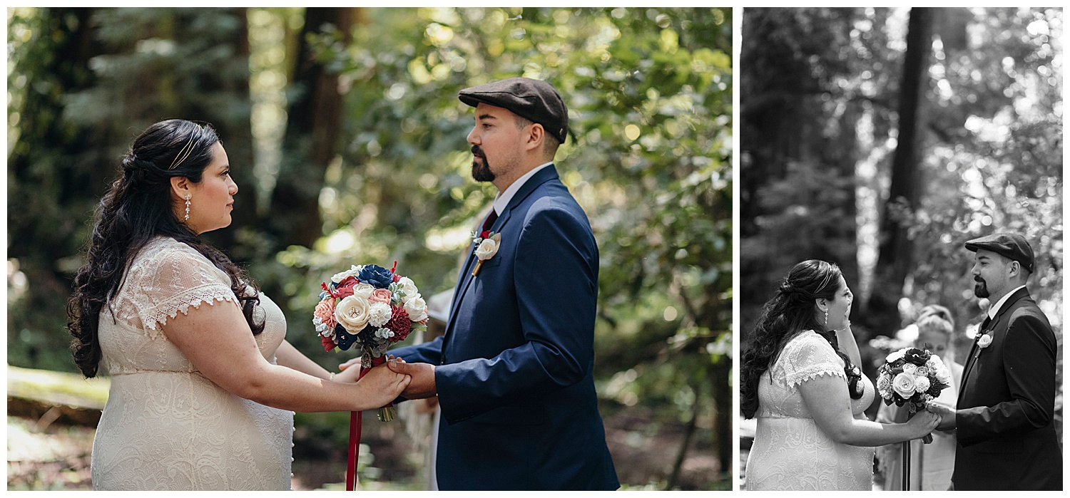 Bride and groom take hands in Henry Cowell redwoods wedding ceremony