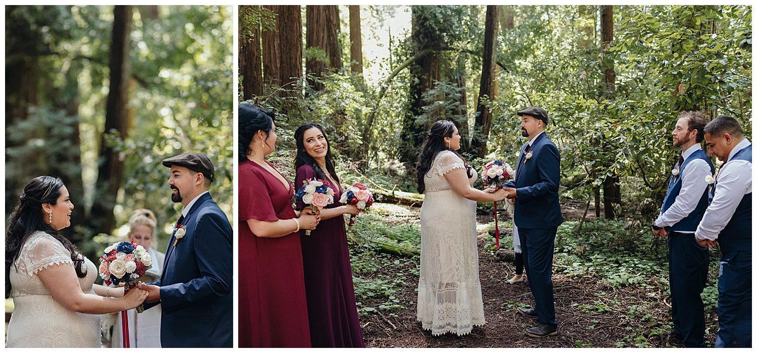 bride and groom hold hands in Henry Cowell redwoods wedding ceremony