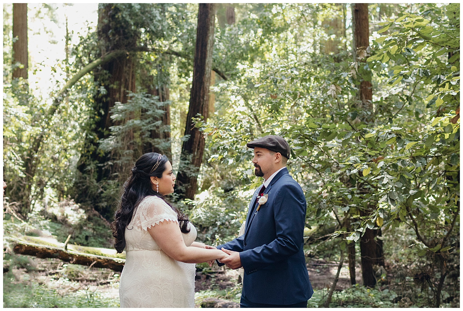 Bride and groom look at each other during Henry Cowell redwoods wedding ceremony