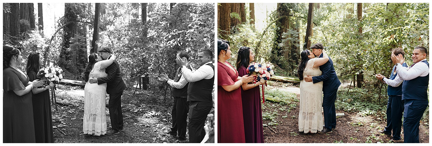 Bride and groom share first kiss in Henry Cowell redwoods wedding ceremony