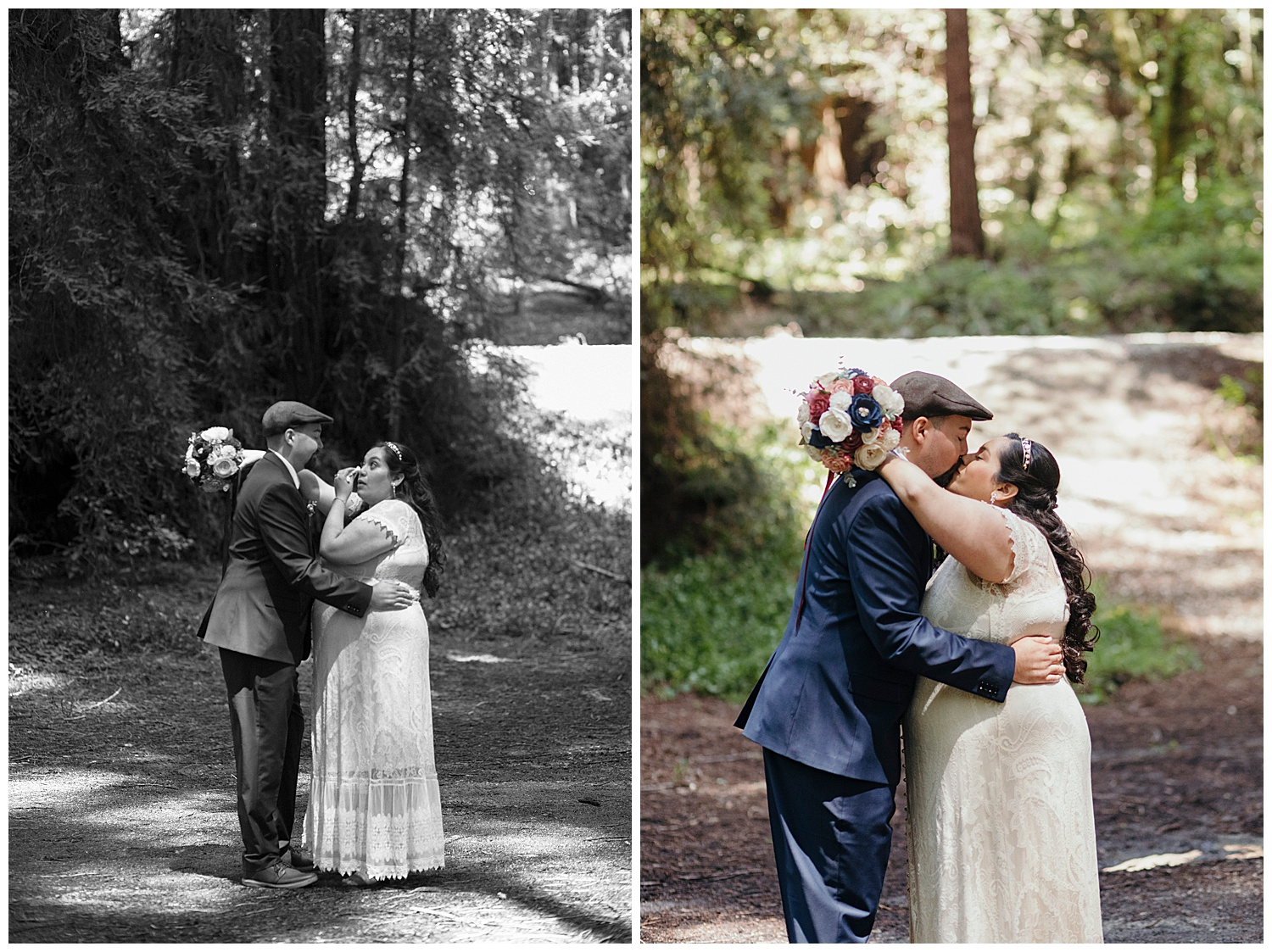 Bride and groom share kiss after Henry Cowell redwoods wedding ceremony