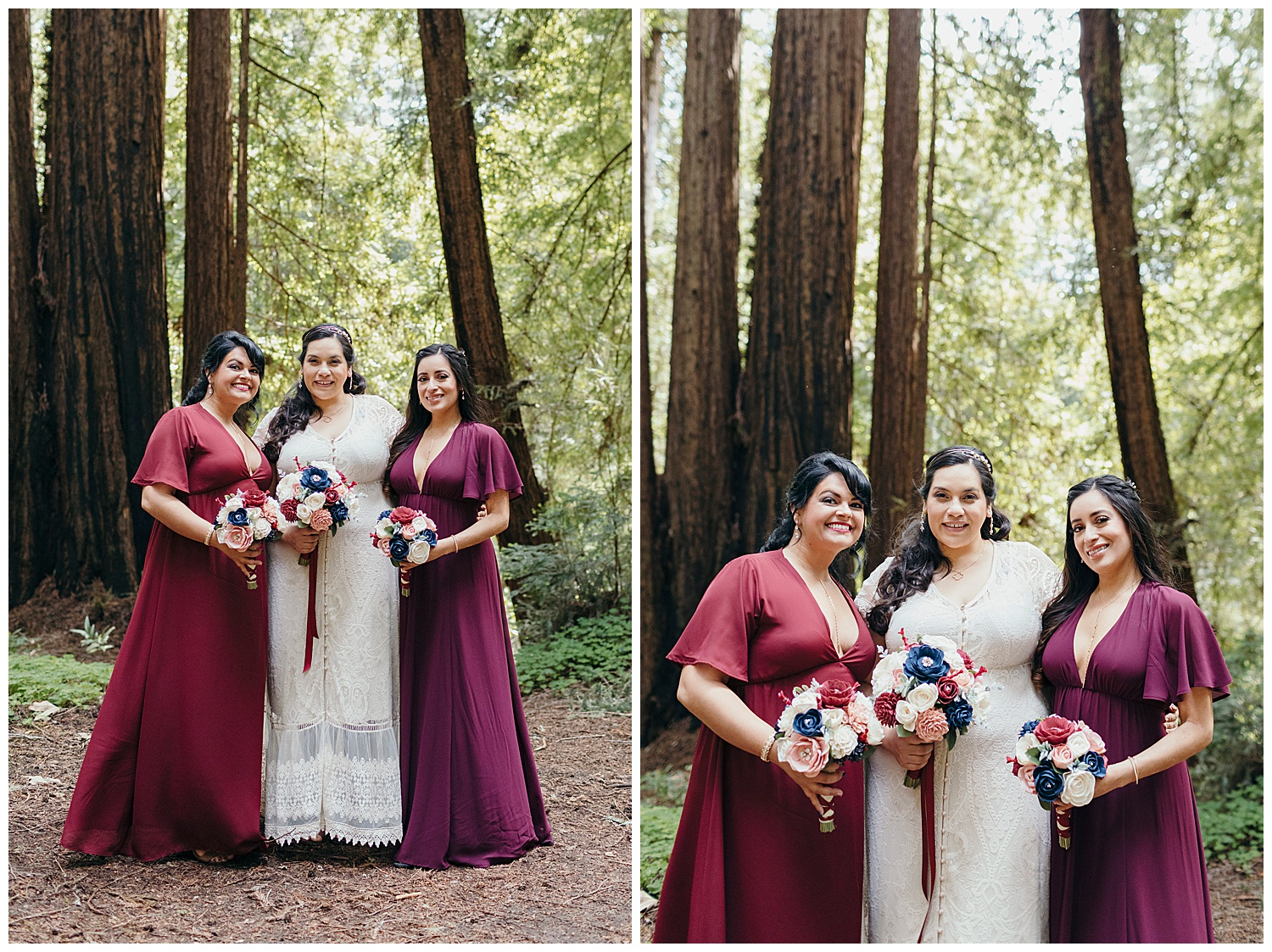 Bride and bridesmaids portraits after Henry Cowell redwoods wedding