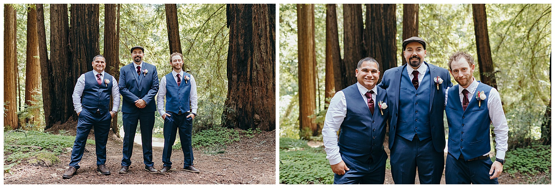 Groom and groomsmen portraits after Henry Cowell redwoods wedding