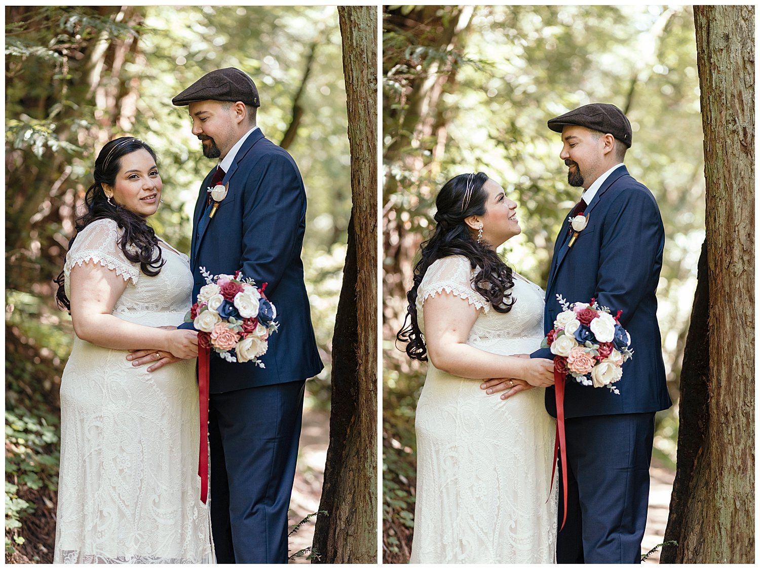Bride and groom in the Henry Cowell redwoods after wedding