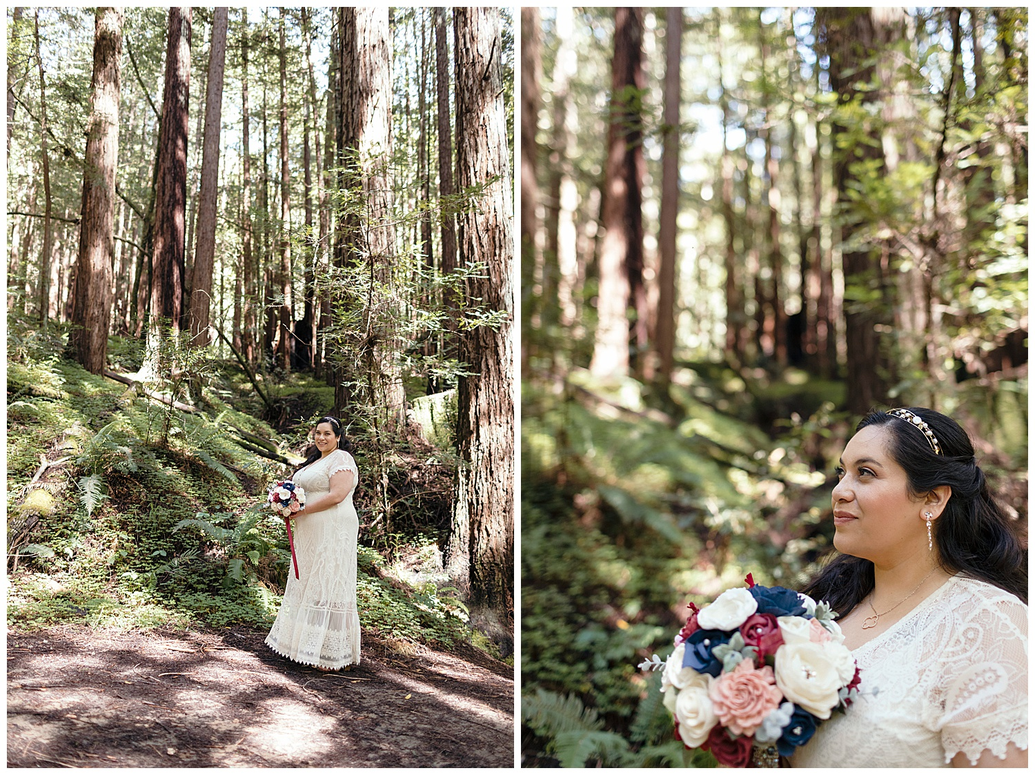 Portraits of bride in Henry Cowell redwoods