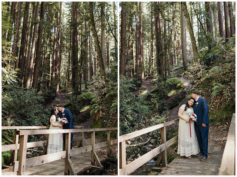 Bride and groom on bridge in Henry Cowell redwoods