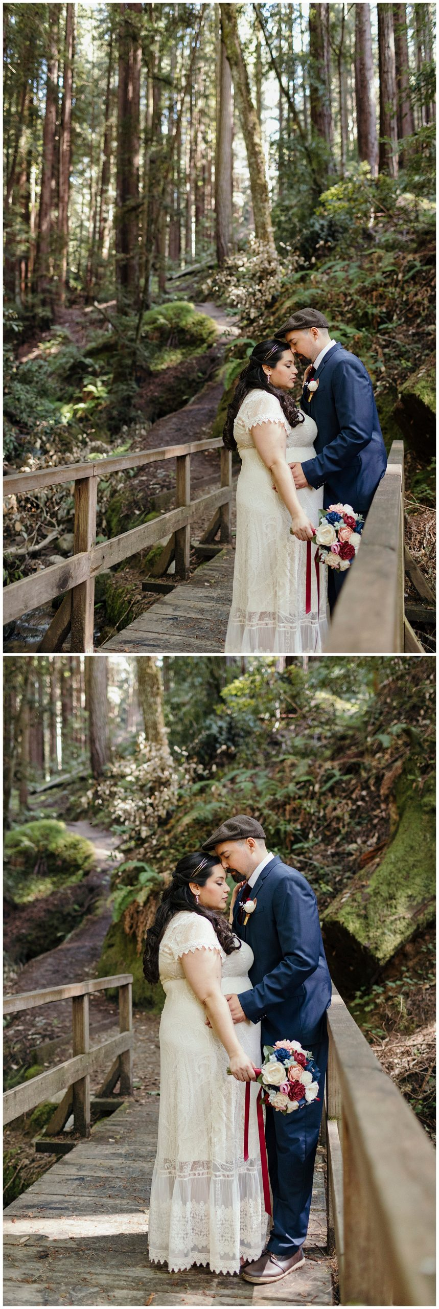 Bride and groom share moment in Henry Cowell redwoods after wedding