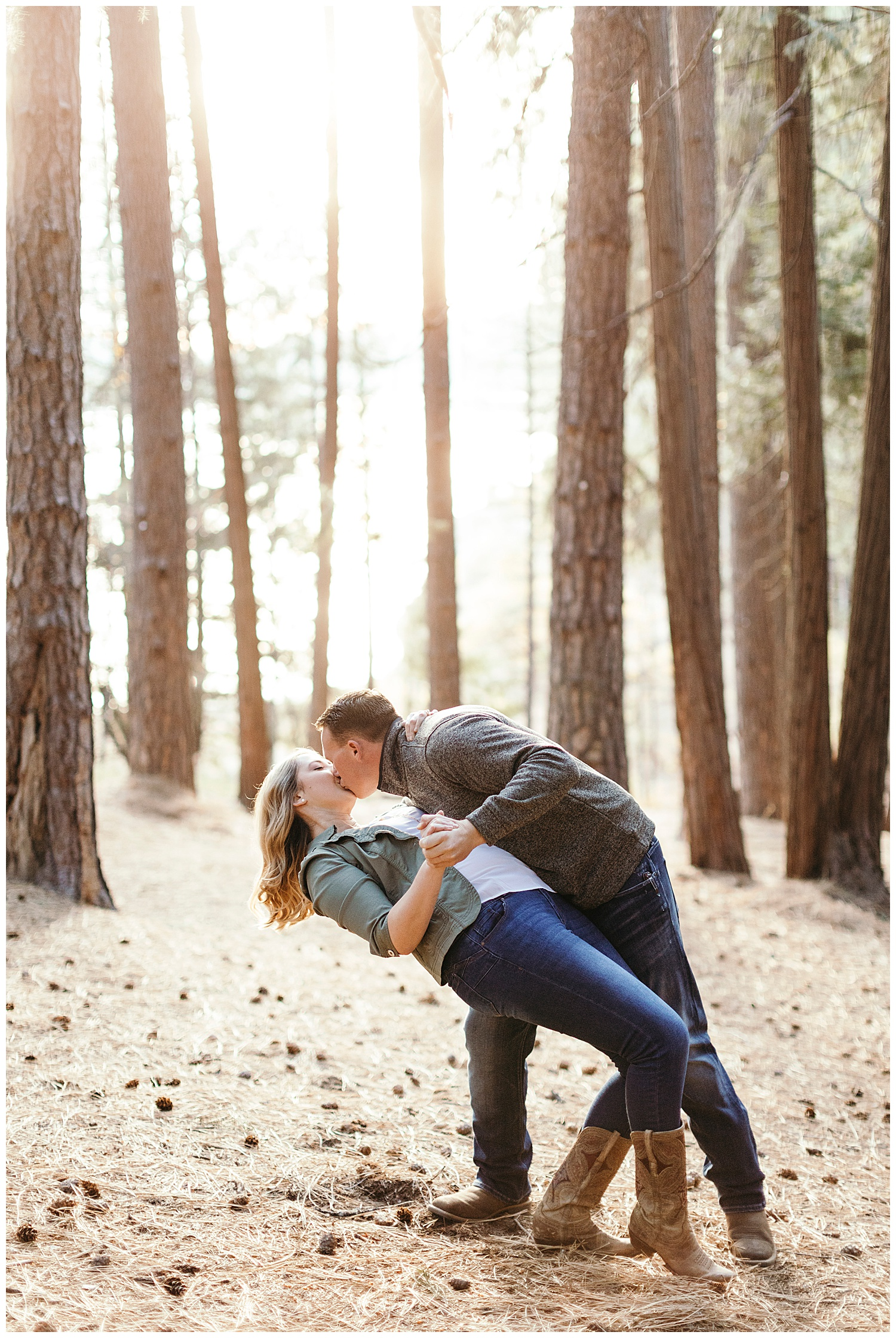 couple dips in engagement pictures in el dorado national forest