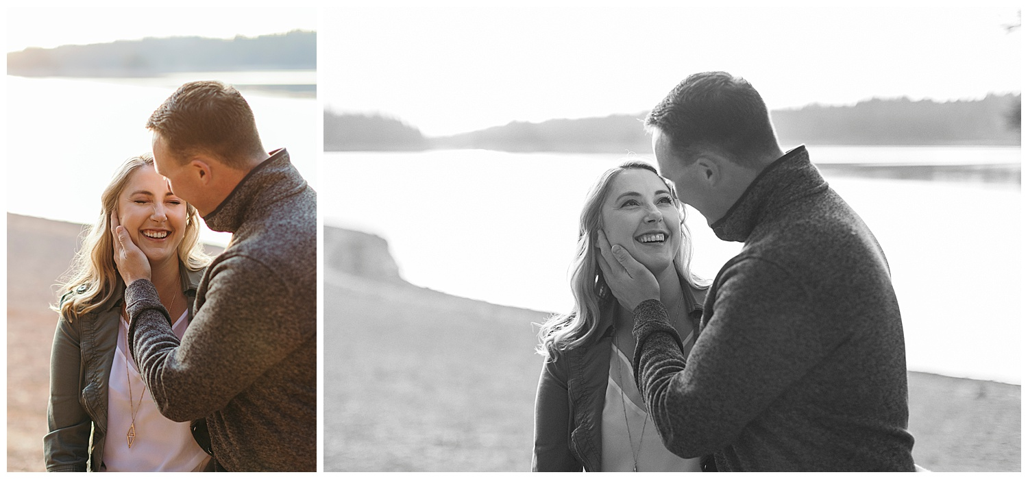 couple laughing in engagement pictures in el dorado national forest