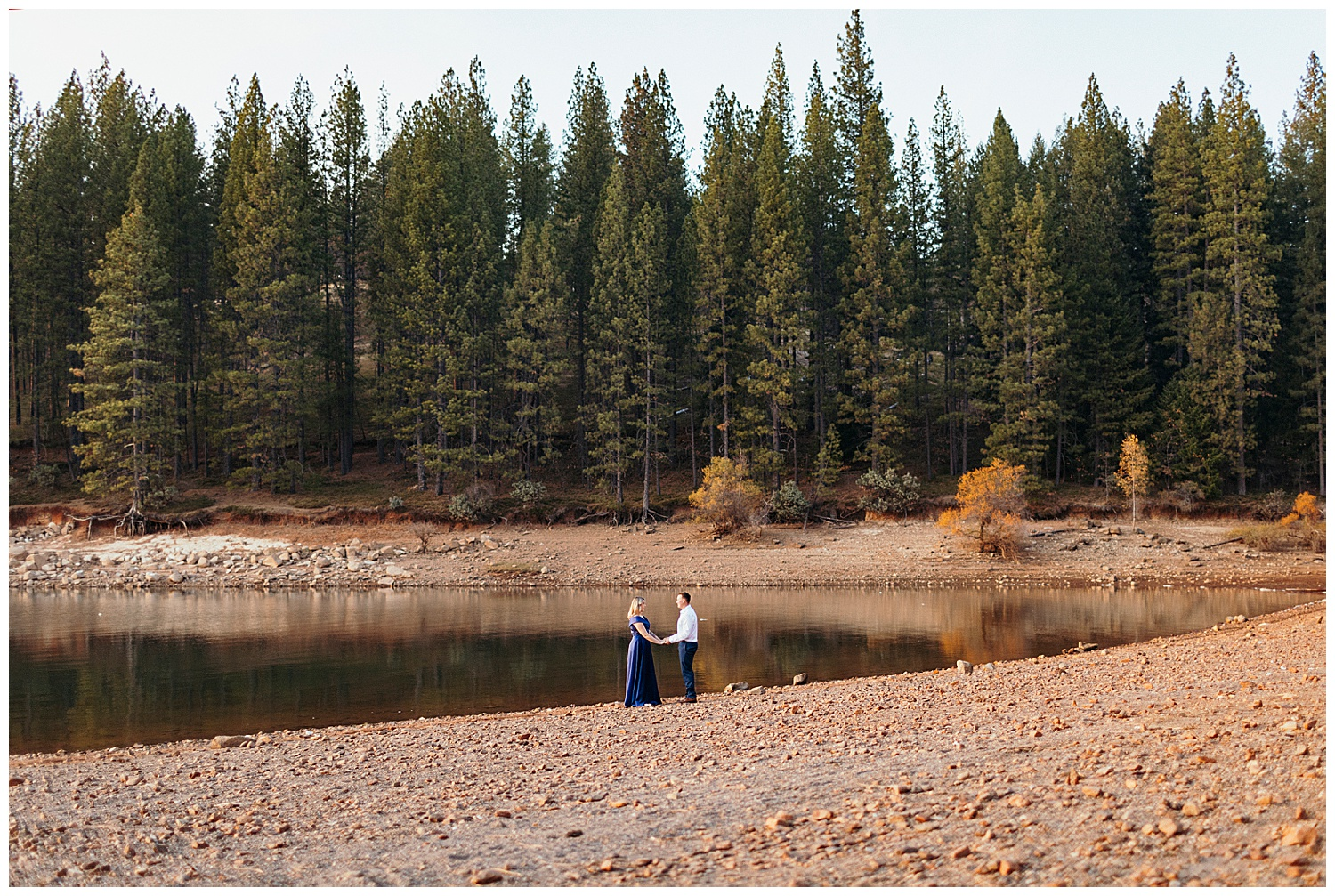 couple in dress clothes at Jenkinson lake