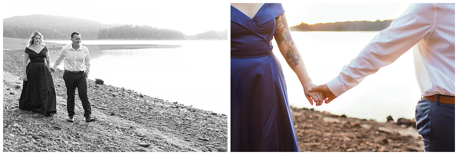 guy leading girl for engagement pictures at jenkinson lake