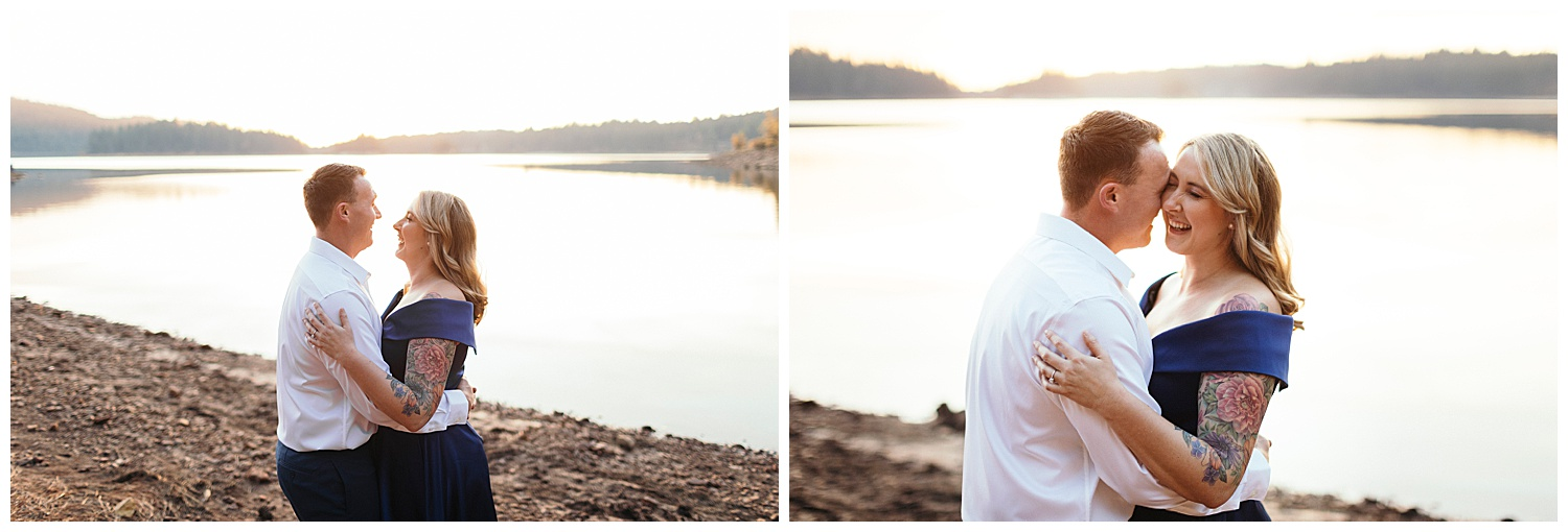 sunset behind couple at Jenkinson lake during engagement pictures