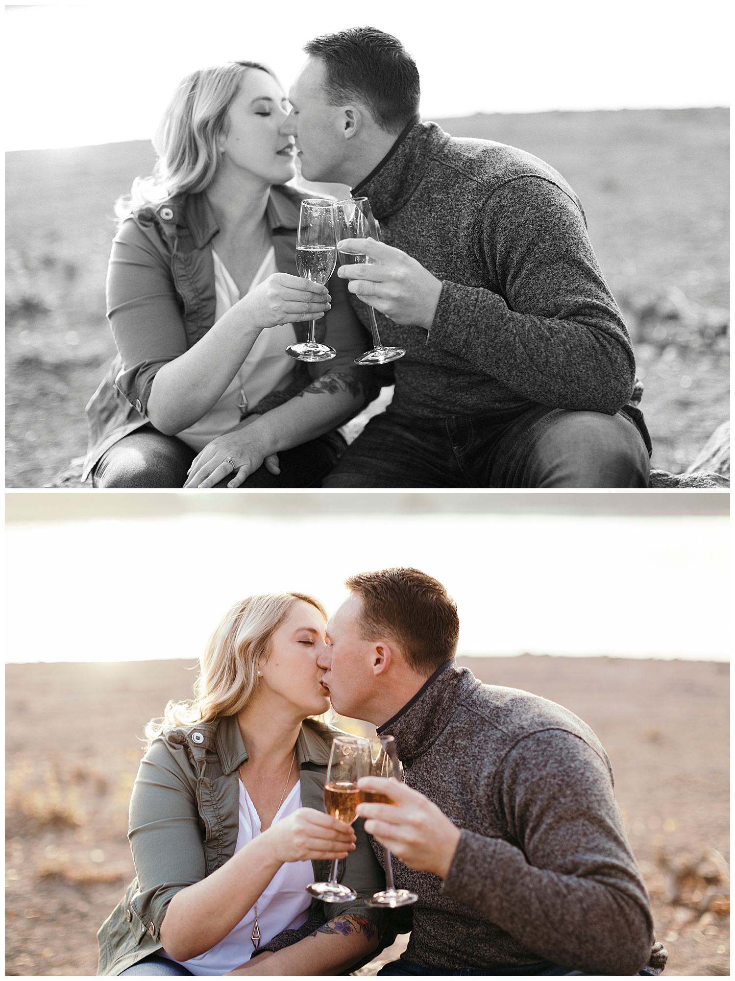 Kiss with champagne engagement pictures Jenkinson Lake