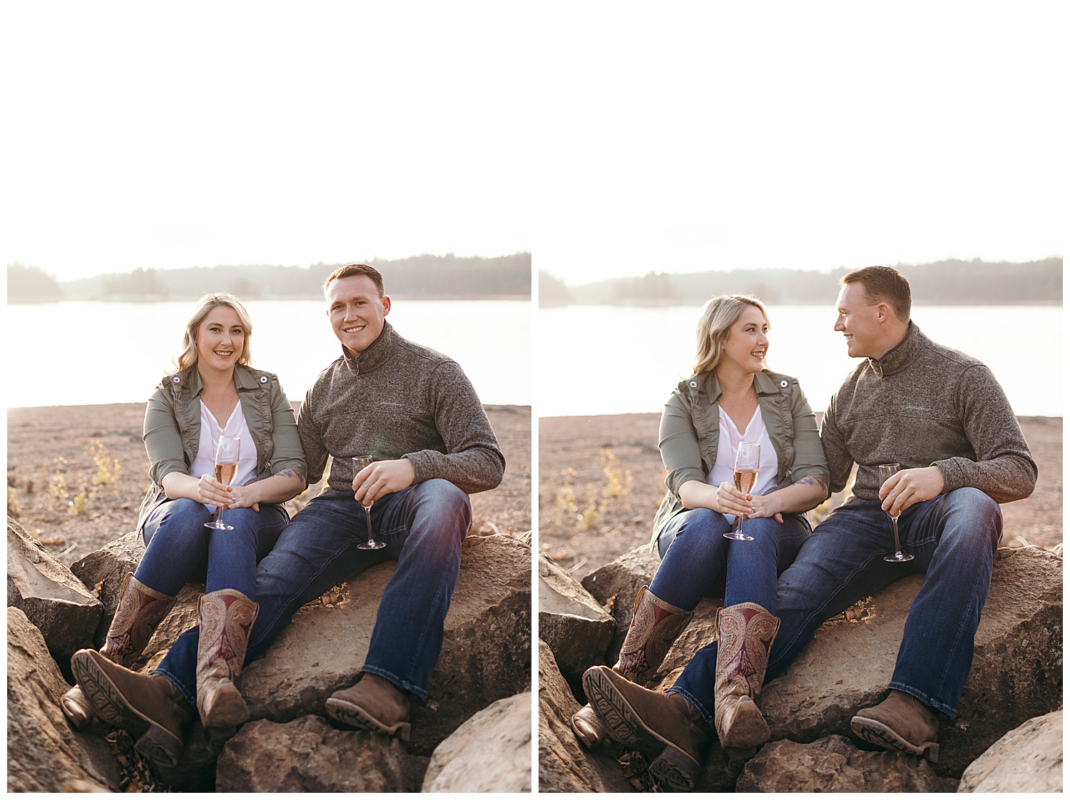 Engagement pictures at Jenkinson lake in El Dorado National Forest