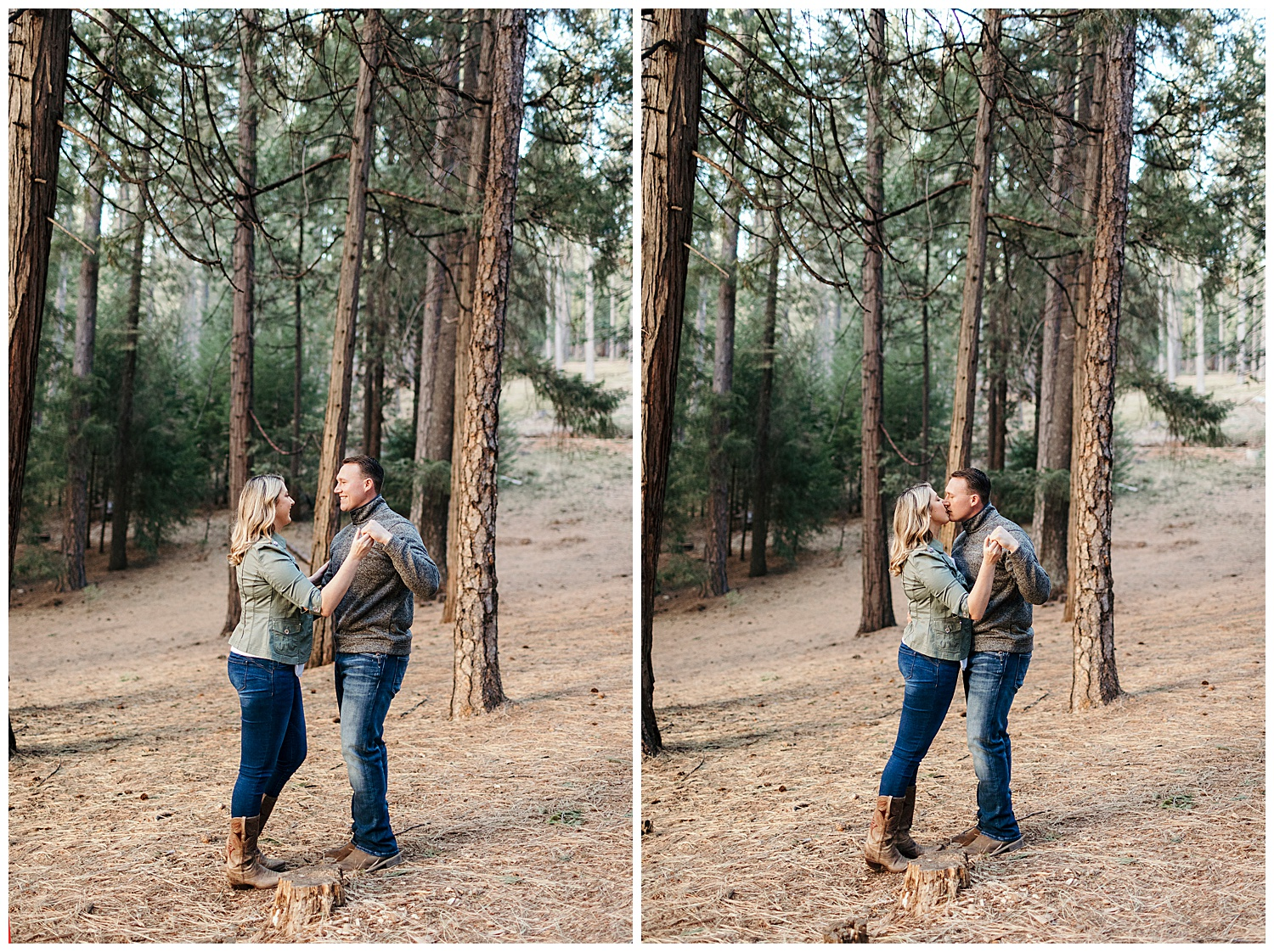 couple embraces in el dorado national forest