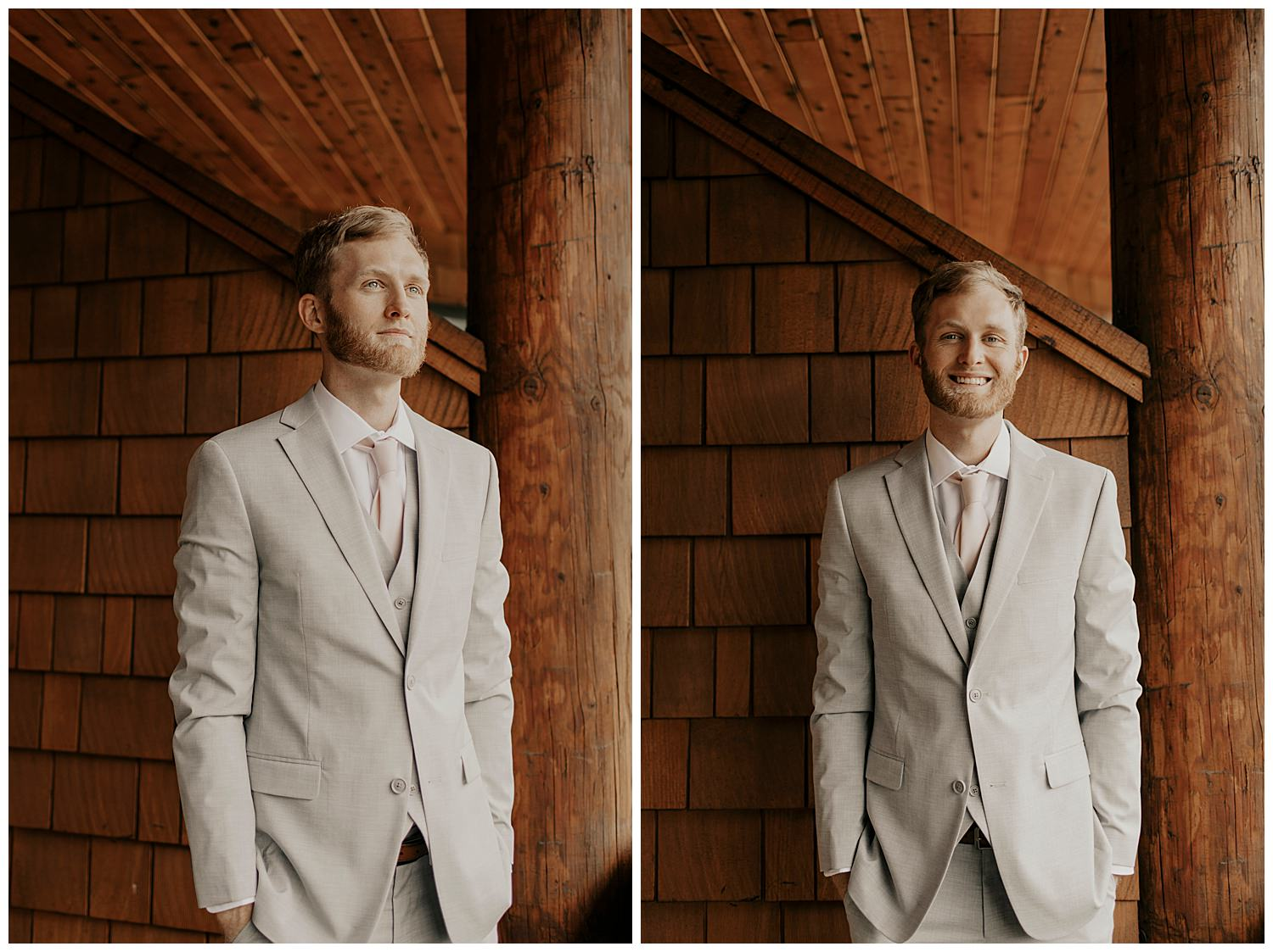 groom in suit on wedding day