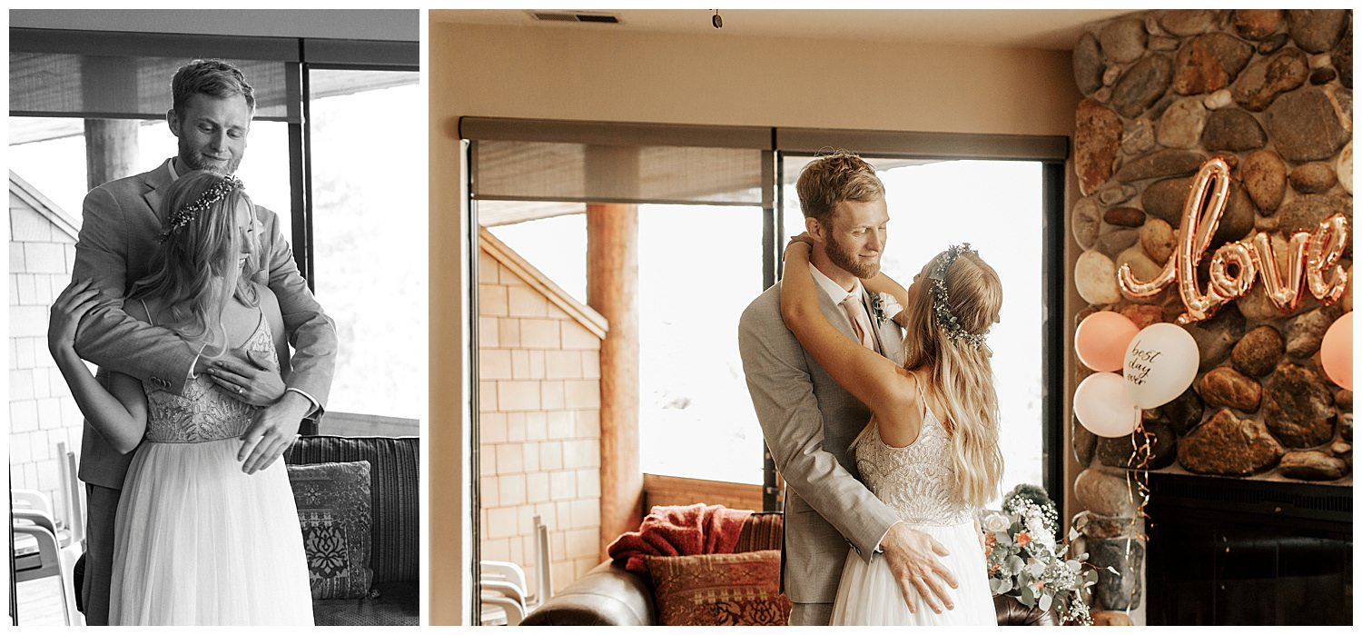 couple in airbnb in squaw valley on wedding day