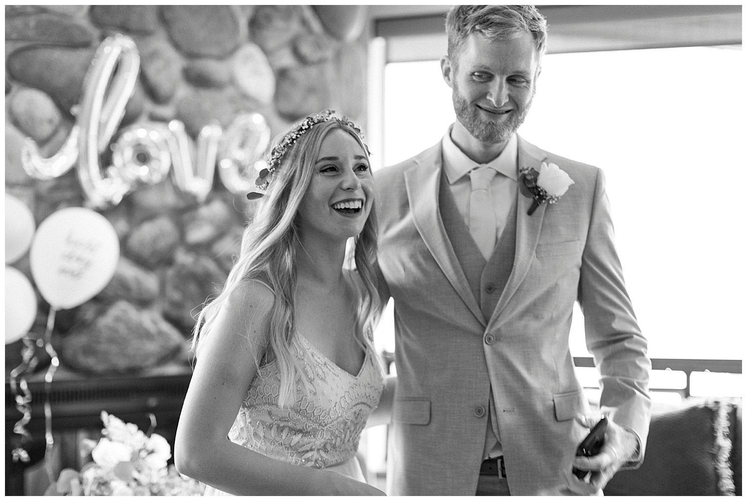 bride laughs on wedding day in squaw valley