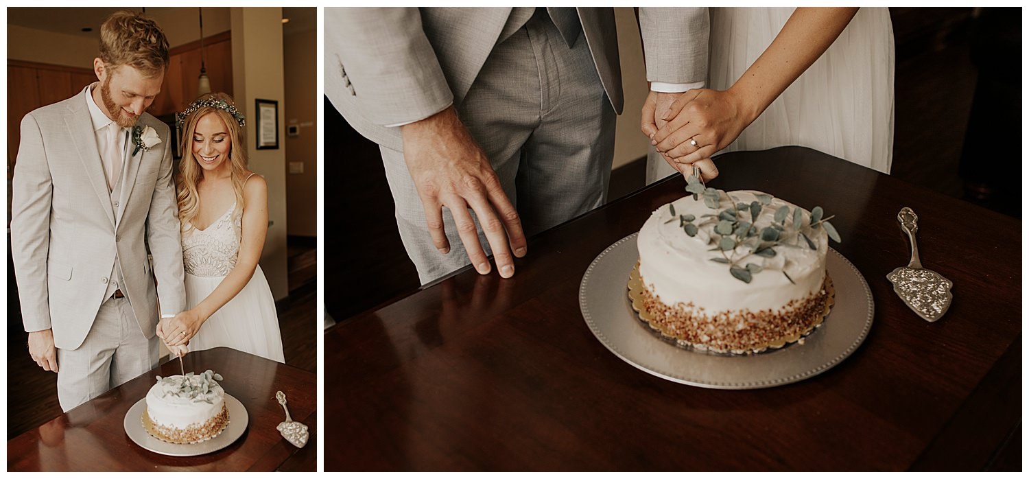 bride and groom cut cake in squaw valley before elopement