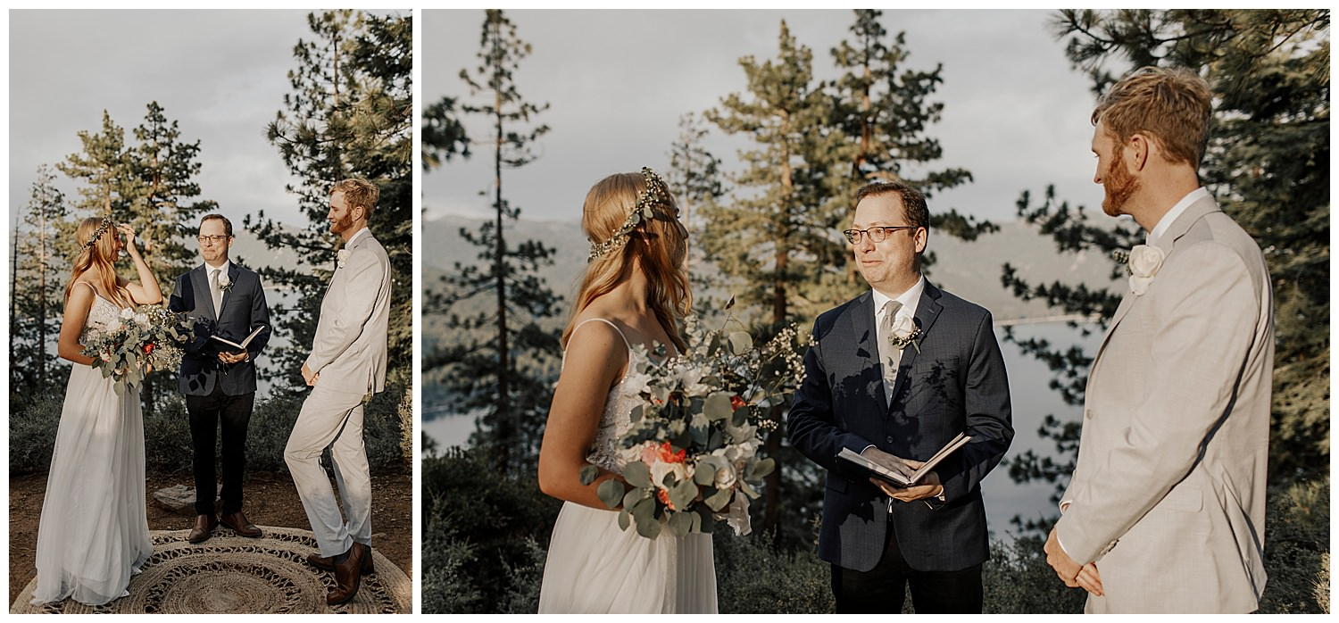 couple begins elopement ceremony in lake tahoe