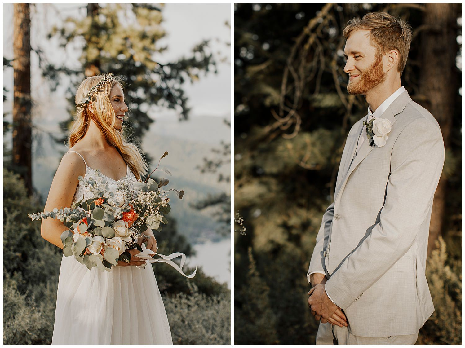 couple smiles before exchanging vows for their lake tahoe elopement