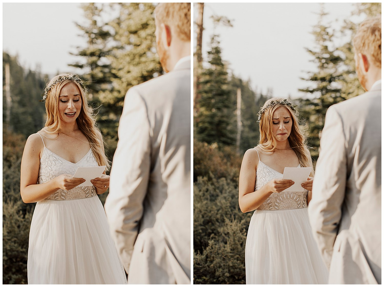 bride gets emotional reading vows in lake tahoe elopement