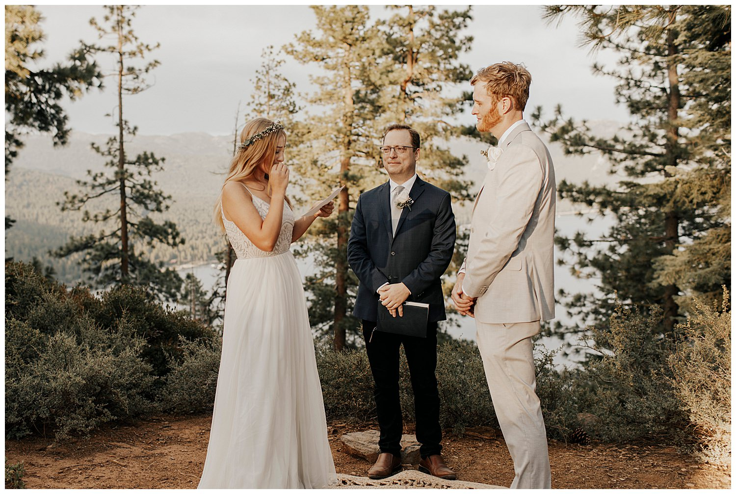 bride wipes back tears while reading vows in lake tahoe elopement