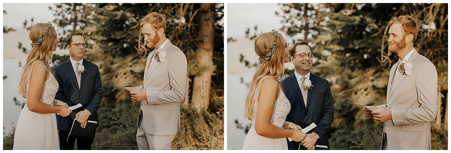 groom reads funny vows to bride at lake tahoe elopement