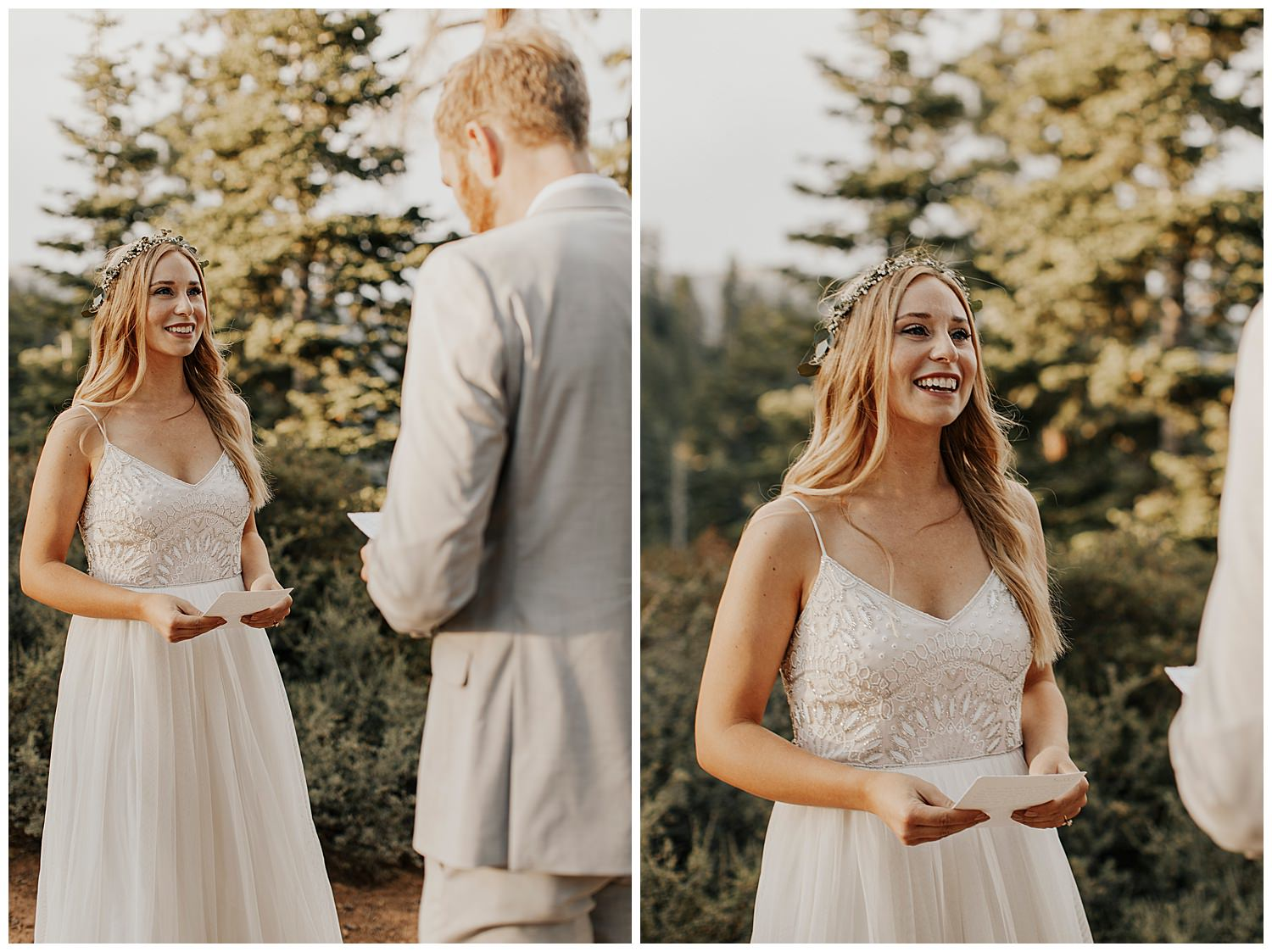 bride looks at groom while he reads vows in lake tahoe elopement