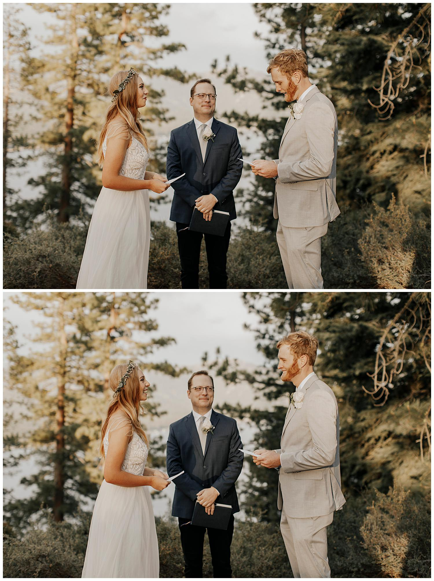 groom reads vows in lake tahoe elopement