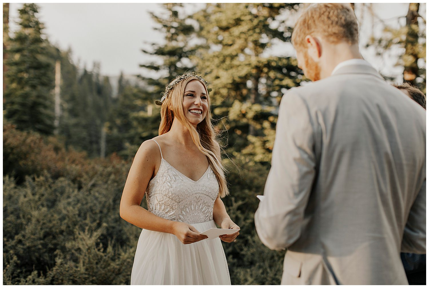 bride smiles at groom in lake tahoe elopement