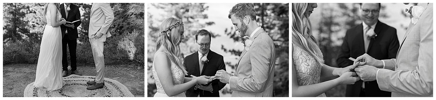 groom puts ring on bride at lake tahoe elopement