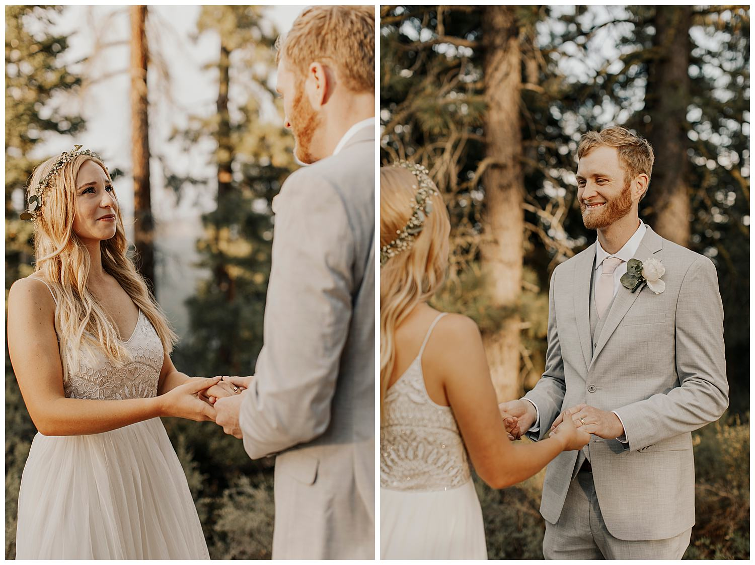 bride and groom look at each other after exchanging rings in lake tahoe elopement