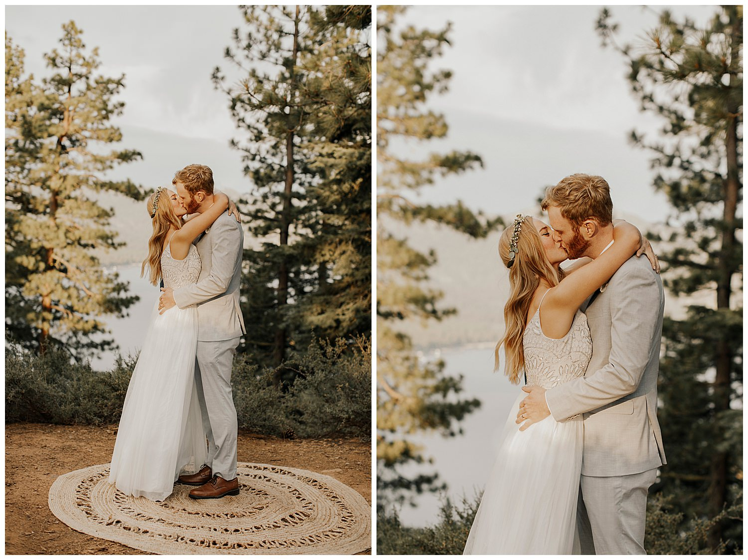 bride and groom embrace after wedding ceremony at lake tahoe