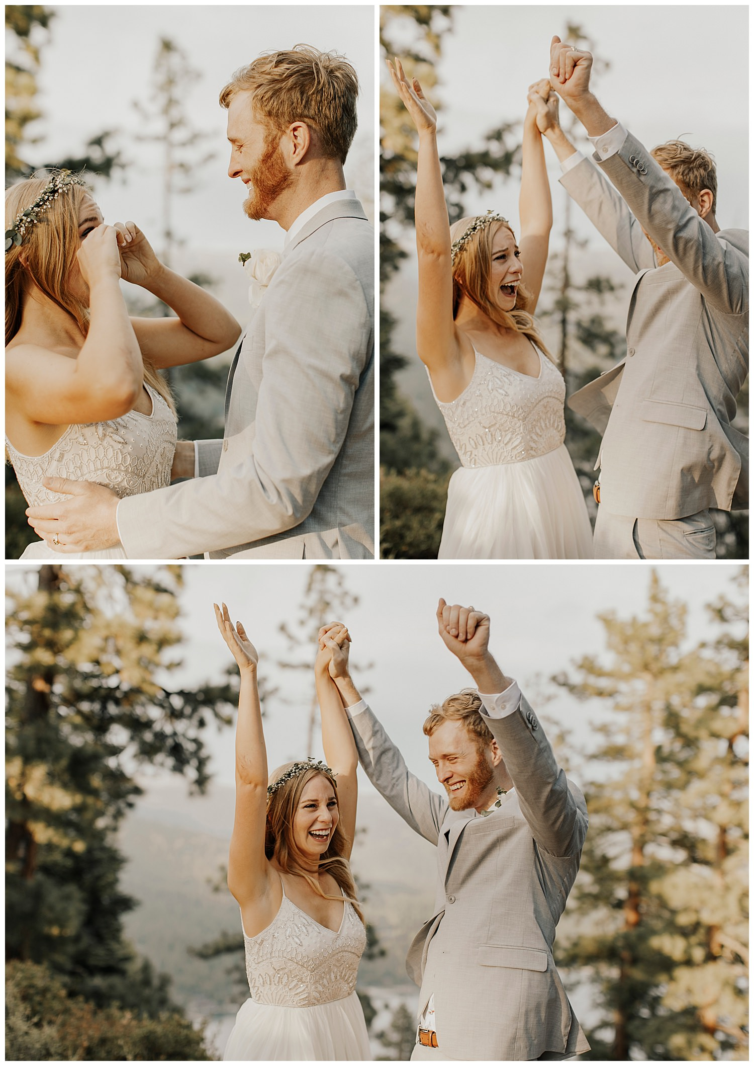 bride and groom cheer after elopement ceremony in lake tahoe