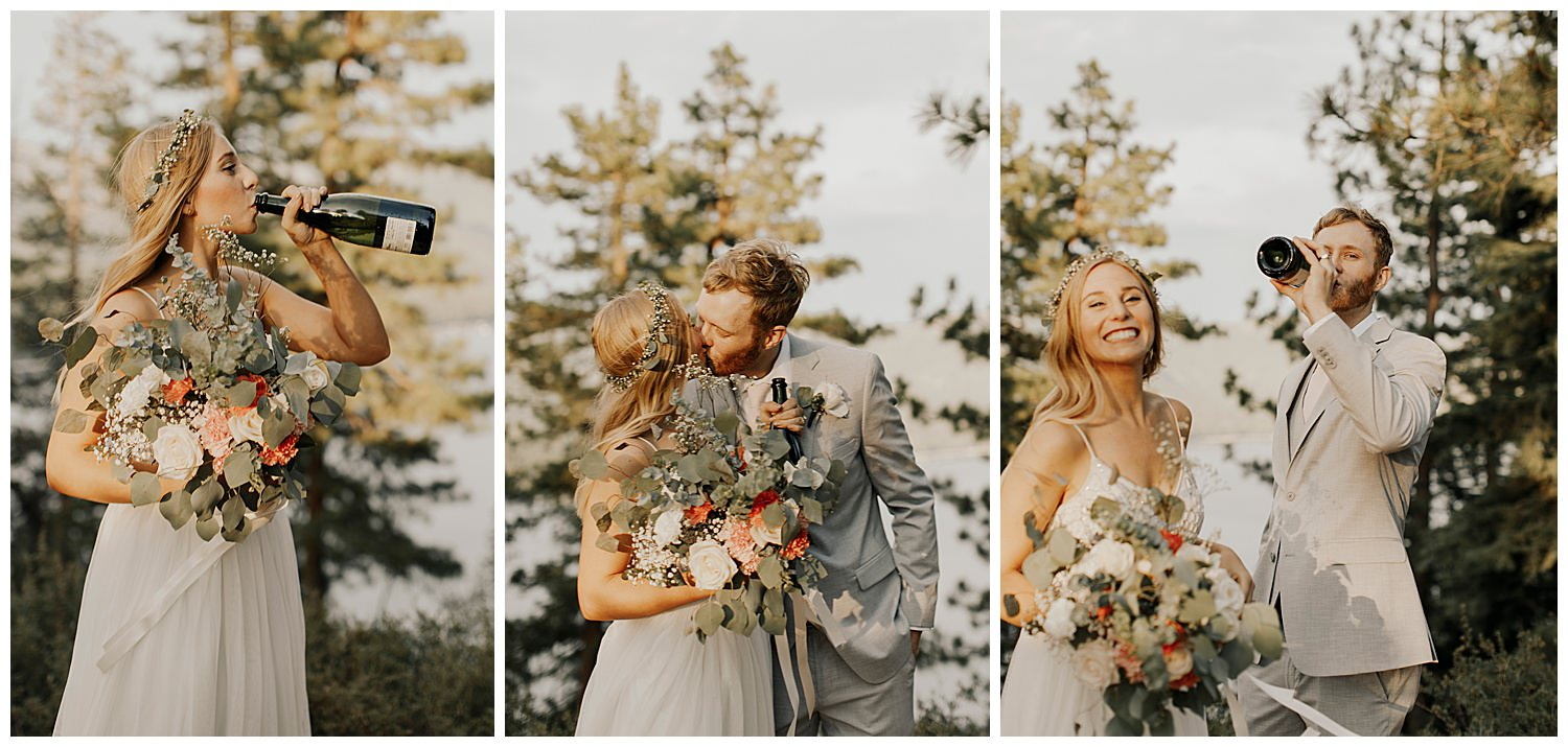 couple celebrates by drinking champagne after lake tahoe elopement