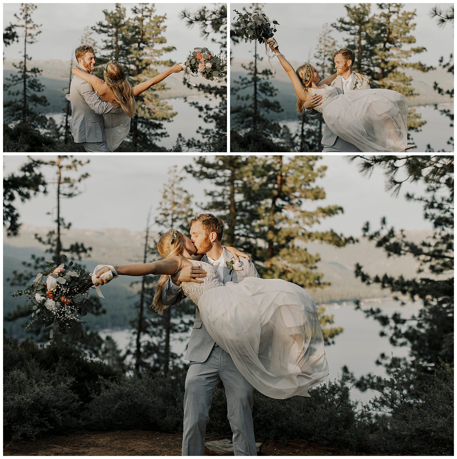 groom spins bride after lake tahoe elopement ceremony