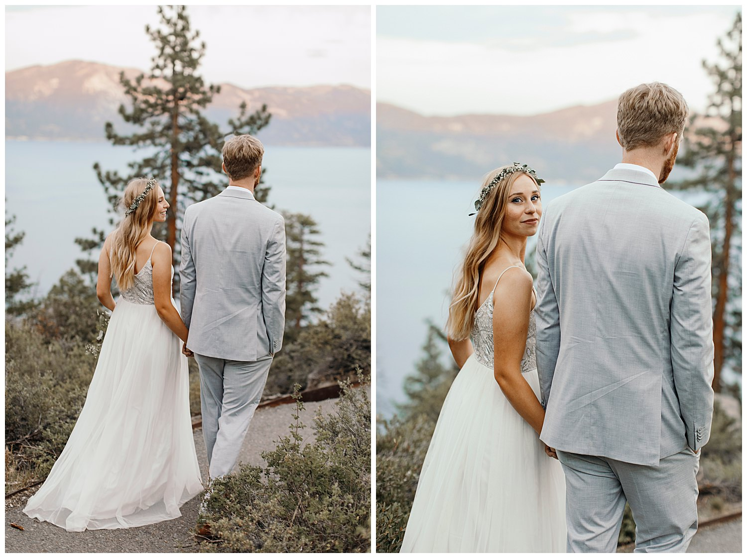 bride and groom walk and bride looks back after lake tahoe elopement